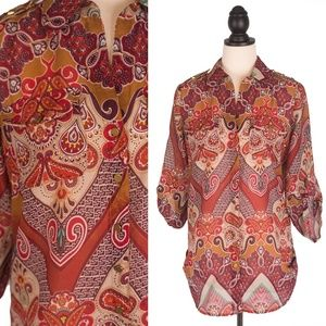Sunny Leigh XS Boho Studded Tunic Blouse